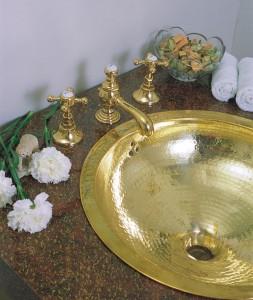 brass hammered bathroom sink