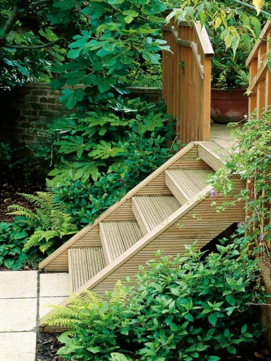 how to build wood landscape stairs