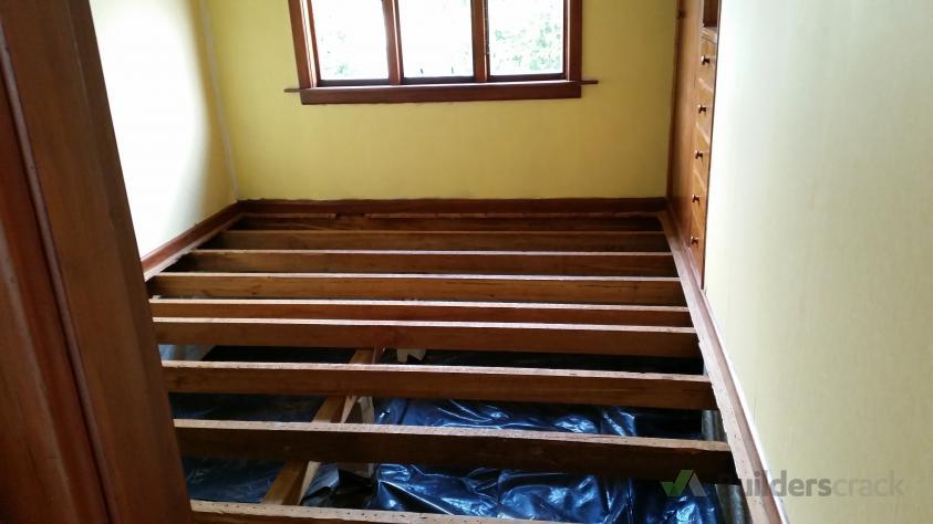 Install floor (plus underfloor insulation) and repair joist